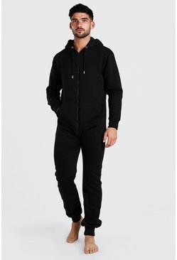 Black Long Sleeve Hooded Onesie