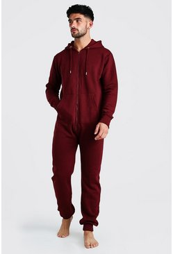 Burgundy red Long Sleeve Hooded Onesie