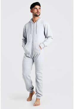 Grey Long Sleeve Hooded Onesie