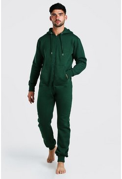 Long Sleeve Hooded Onesie, Green verde