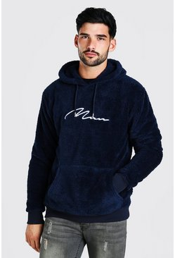 Navy marinblå Borg MAN Signature Over The Head Hoodie