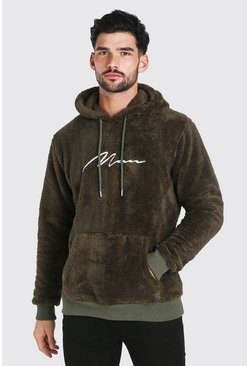 Khaki Borg MAN Signature Over The Head Hoodie