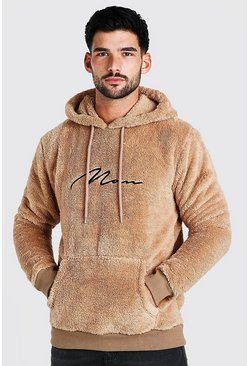 Taupe beige Borg MAN Signature Over The Head Hoodie