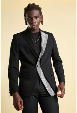 Black Skinny Single Breasted Blazer with Contrast Lapel