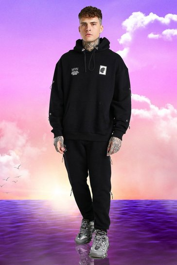 Black Burna Boy Oversized Toggle Detail Tracksuit