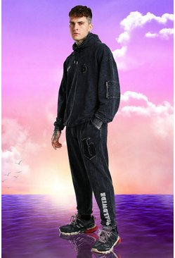 Charcoal grey Burna Boy Oversized B Acid Wash Tracksuit