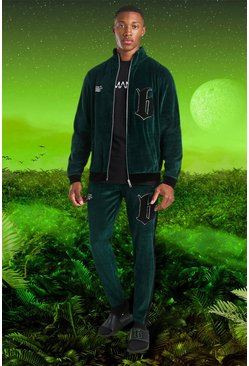 Green Burna Boy Funnel Neck Velour B tracksuit