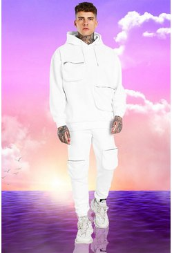 Burna Boy 3D Pocket Tracksuit With Back Print, White blanc