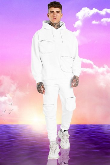 White Burna Boy 3D Pocket Tracksuit With Back Print