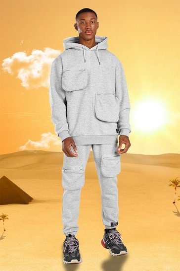 Grey marl grey Burna Boy 3D Pocket Tracksuit With Back Print