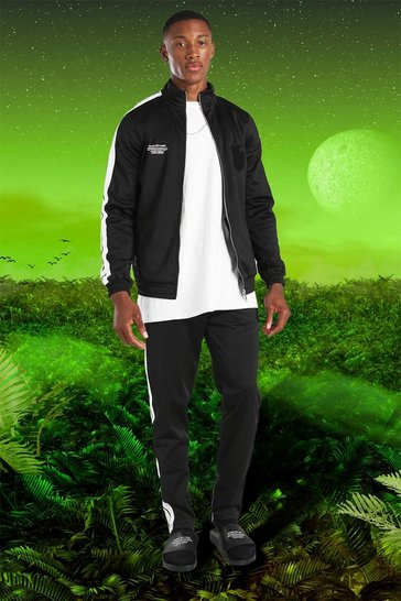 Black Burna Boy Slim Fit Tricot Tape Funnel Tracksuit