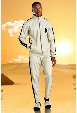 Burna Boy Slim Fit Tricot Tape Funnel Tracksuit, Stone beige