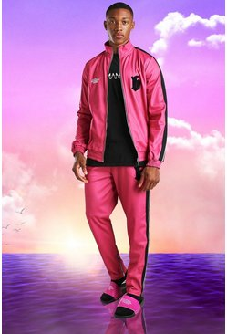 Burna Boy Slim Fit Tricot Tape Funnel Tracksuit, Pink rose