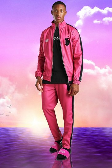 Pink Burna Boy Slim Fit Tricot Tape Funnel Tracksuit