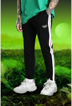 Black svart Burna Boy Slim Fit Scuba Side Tape Joggers
