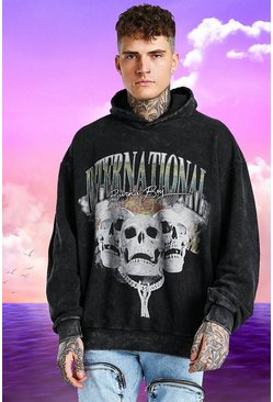 Charcoal grey Burna Boy Oversized Skull Print Acid Wash Hoodie