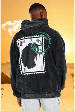 Charcoal grey Burna Boy Oversized Stamp Acid Wash Hoodie