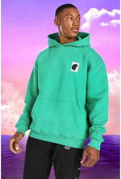 Green grön Burna Boy Oversized Stamp Print Hoodie