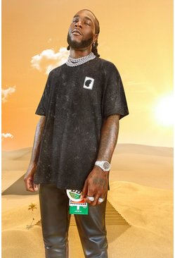Charcoal grå Burna Boy Oversized Stamp Acid Wash T-Shirt