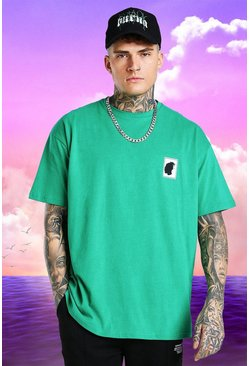 Green grön Burna Boy Oversized Stamp Print T-Shirt