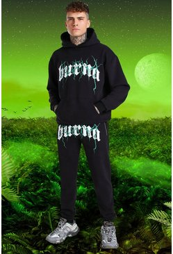 Black svart Burna Boy Oversized Tour Print Hooded Tracksuit