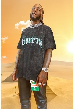 Charcoal grå Burna Boy Oversized Tour Print Acid Wash T-Shirt