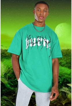 Green grön Burna Boy Oversized Tour Print T-Shirt