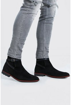Black Buckle Faux Suede Chelsea Boot