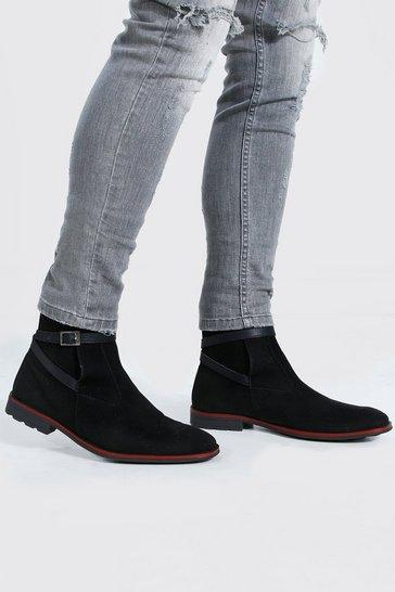 Black Buckle Faux Suede Chelsea Boot