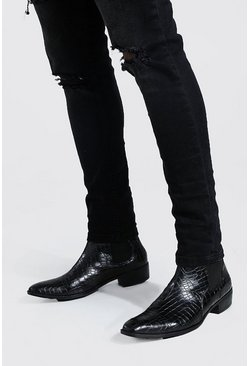 Black Faux Croc Cuban Chelsea Boot