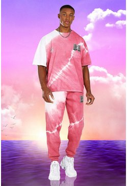 Pink rosa Burna Boy Oversized Tie Dye T-Shirt And Jogger Set