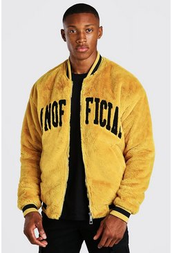 Yellow MAN Official Faux Fur Bomber