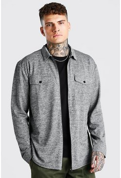 Grey Long Sleeve Jacquard Jersey Overshirt