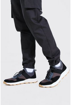 Black Panelled Chunky Sneakers With Hiker Sole