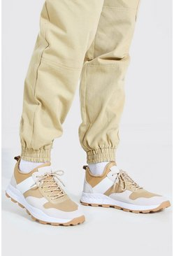 Beige Panelled Chunky Sneakers With Hiker Sole