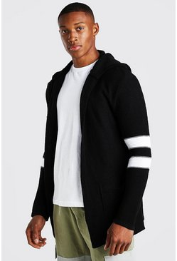 Longline Hooded Cardigan With Stripes, Black noir
