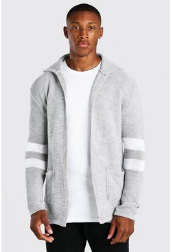 Longline Hooded Cardigan With Stripes, Grey marl gris