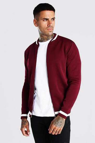 Burgundy red Smart Knitted Bomber With Stripe Detail