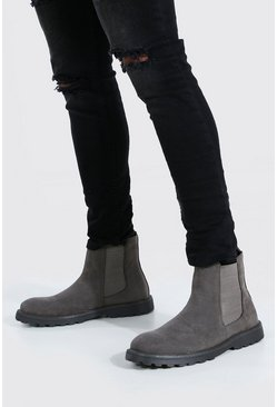 Grey Faux Suede Chelsea Boot