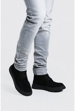Black Chunky Sole Lace Up Boot