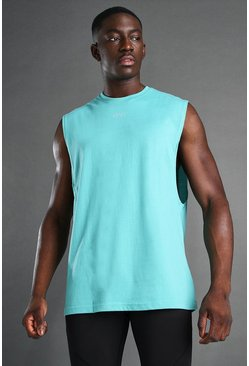 Green MAN Loose Fit Drop Arm Hole Tank