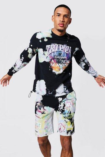 Black Tall Oversized Man Trippy Tour Sweater