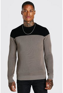 Taupe beige Contrast Crew Neck Muscle Fit Knitted Jumper
