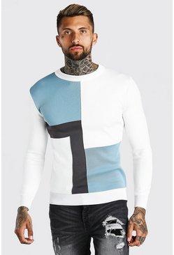 Colour Block Muscle Fit Knitted Jumper, Pale blue azzurro