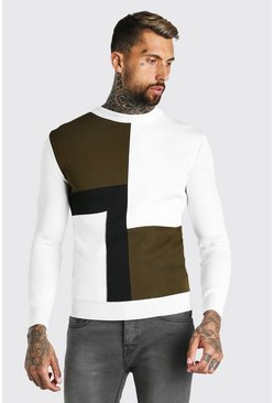 Sage Colour Block Muscle Fit Knitted Jumper