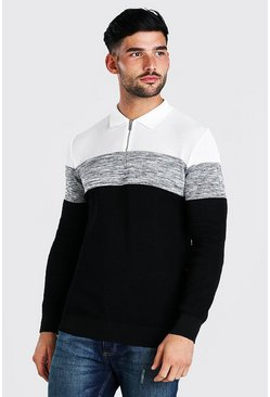 Black Long Sleeve Colour Block Muscle Fit Polo