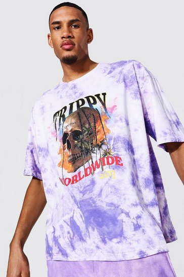 Purple Tall Oversized Skull Tour Tie Dye T-shirt