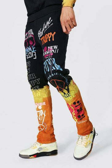 Orange Tall Regular Fit Graffiti Tie Dye Jogger