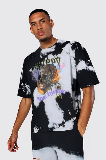 Black Tall Oversized Skull Tour Tie Dye T-shirt