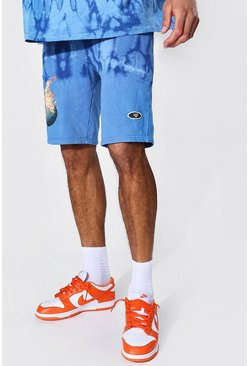 Blue Tall Regular Fit Flame Tie Dye Jersey Short
